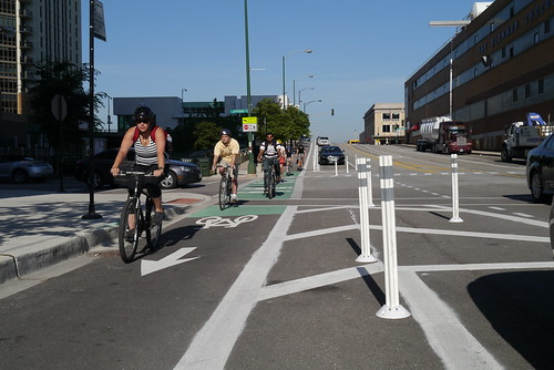 Chicago's first Protected Bike Lane on Kinzie Street | by Chicago Bicycle Program