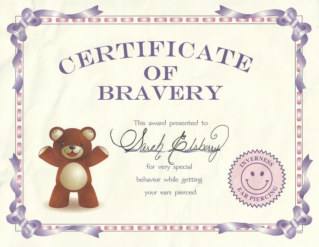Sarah S Ear Piercing Certificate Certificate Of Bravery