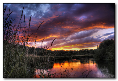 sunset colors clouds reflections washington spokane littlespokaneriver