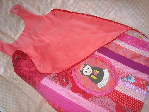 pink sleeping baby stripes cotton sack matryoska spoonflower costalito gurumania coutelette