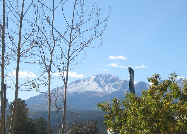 Pikes Peak from the bakery in Woodland Park