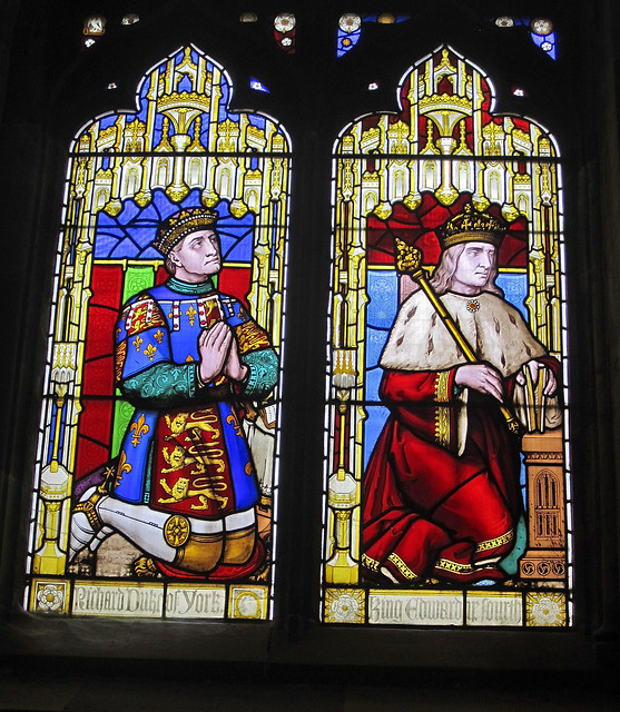 Richard Duke of York and Edward IV: stained glass, St. Laurence Church, Ludlow, Shropshire