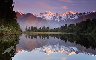 Sunset Reflection Lake Matheson, South Westland, New Zealand | by Todd & Sarah Sisson