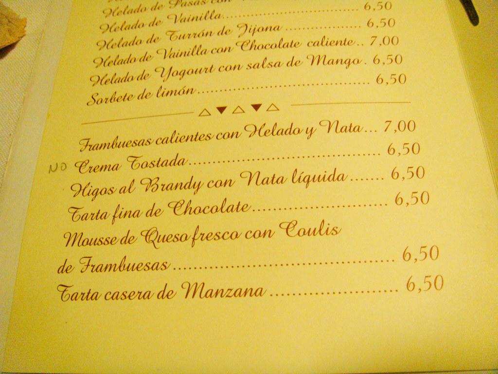 Restaurante Azaya Mataelpino Carta De Postres Pablo