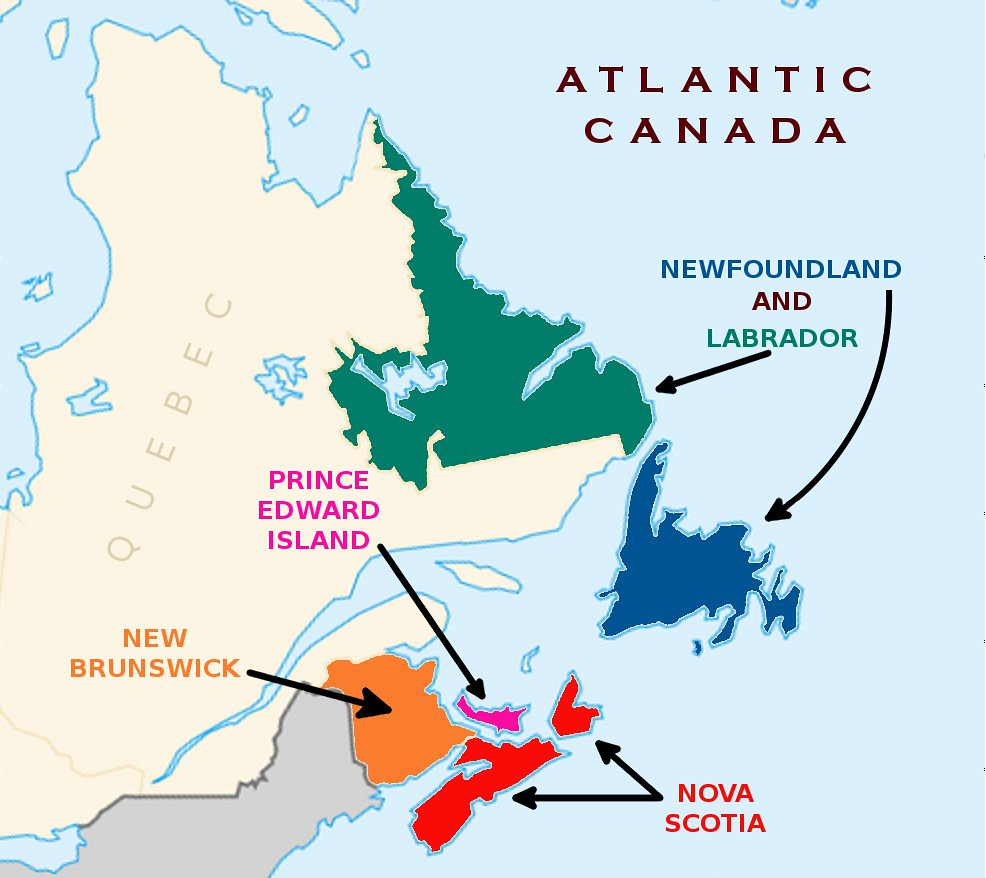 Map Of Canada With Labels.Canada Atlantic Canada With Labels Jeopardy Opus Penguin