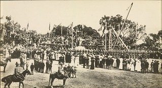 [Crowd scene at the Naming of Canberra ceremony attended by the Governor-General, Lord Denman, and a parade of cadets from the Royal Military College, Duntroon, 12 March 1913]