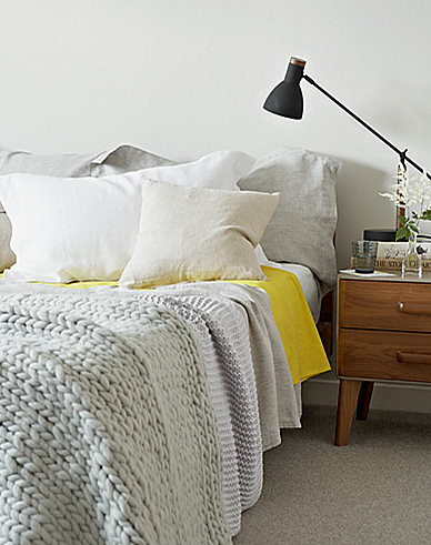 Jon Day {white, gray, yellow and black mid-century vintage scandinavian modern bedroom} | by recent settlers