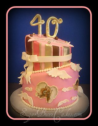 Remarkable 40Th Birthday Cake With Angels This Cake Was Heavily Inspi Flickr Funny Birthday Cards Online Elaedamsfinfo