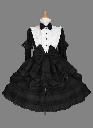 Black And White Bow Cotton Gothic Lolita Dress | by HalloweenFashion