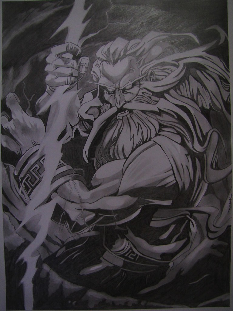 Zeus pencil sketch 22 x 16 in size handmade pencil ske