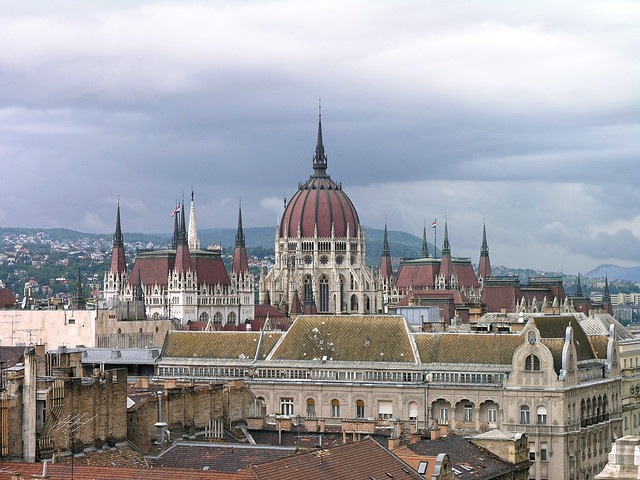 Budapest roofs with the parliament 01
