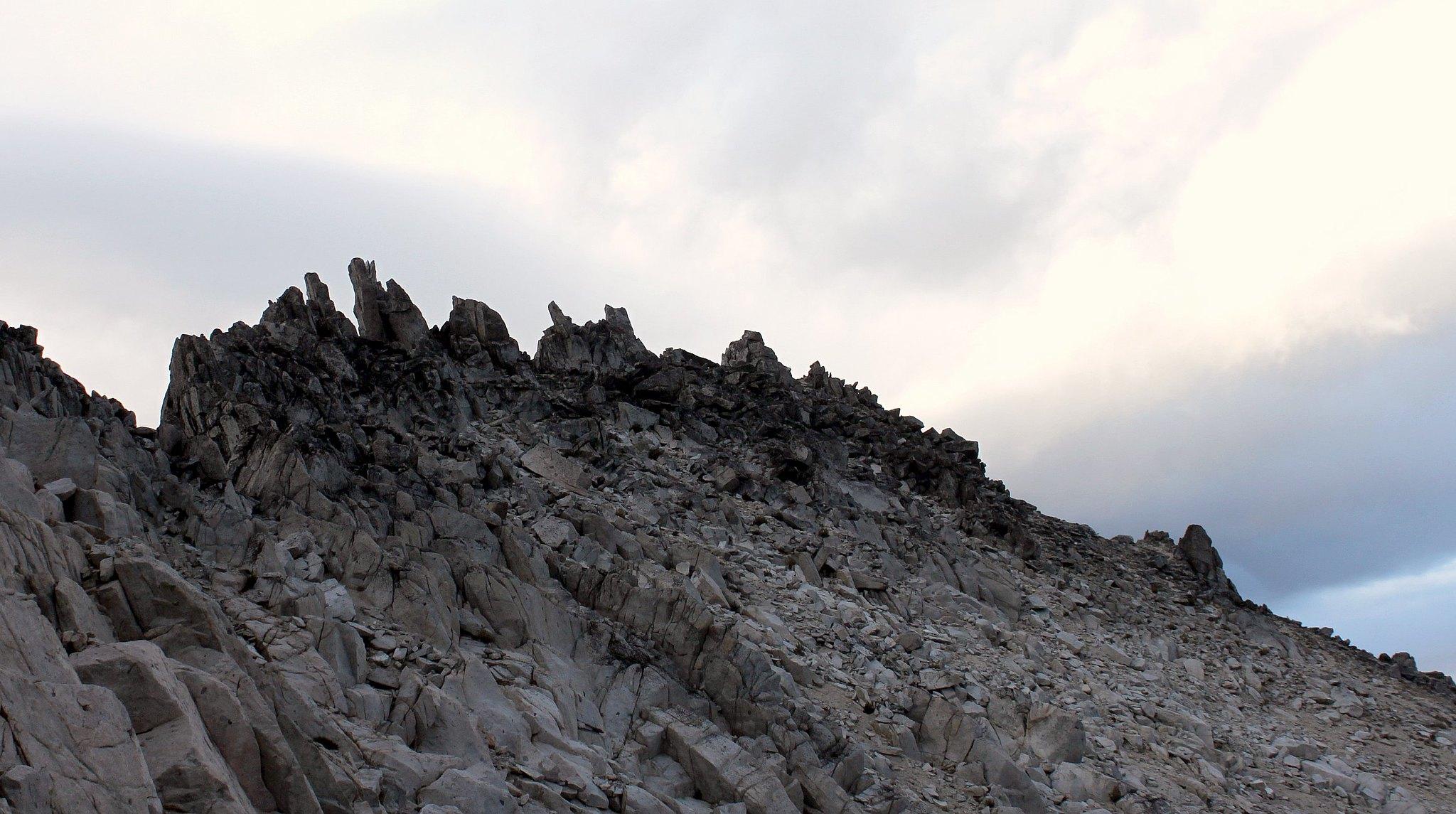 Scrambling up toward the summit