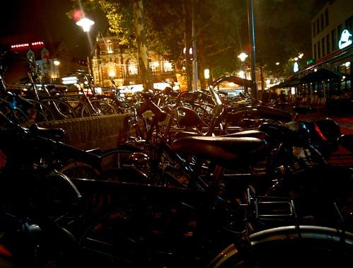 Amsterdam bikes at night