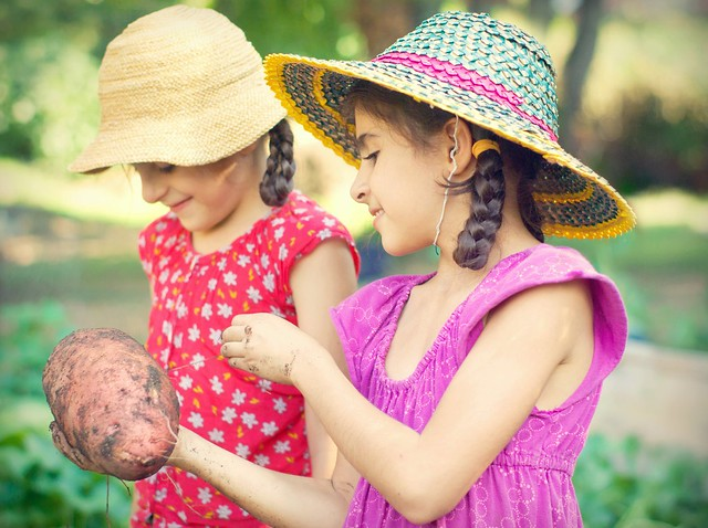 kids with a potato