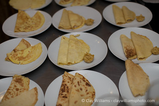"Main Course: Cheese Blintzes with ""Google Kugel"" (Salt & Pepper Kugel Bites with Roasted Garlic) 