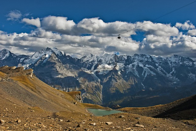 Between Mürren Birg and the Schilthorn. Looking at  the Jungfrau and the lake of Grauseewli /Grauseeli .