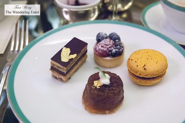 Opéra cake, Berry tart, Chocolate passion fruit macaron, Apple tart tatin