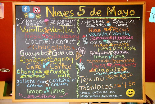 Menu board at Nieves Cinco de Mayo, Oakland | by Eating In Translation