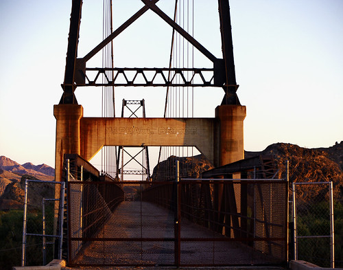 bridge sunset arizona desert suspension az yuma bridgetonowhere mcphaul mcphaulbridge