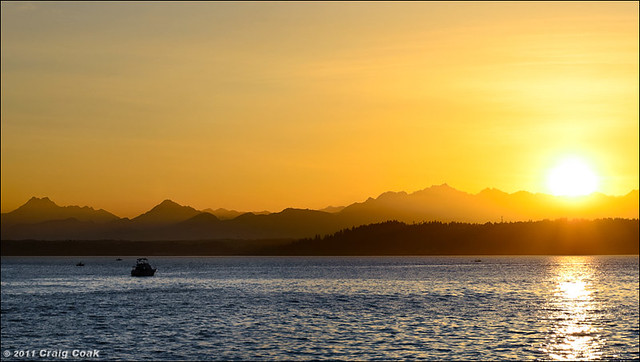 Sun setting over Olympics & Puget Sound