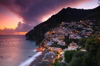 Positano at dusk, Amalfi Coast, Italy | by Eric Hossinger