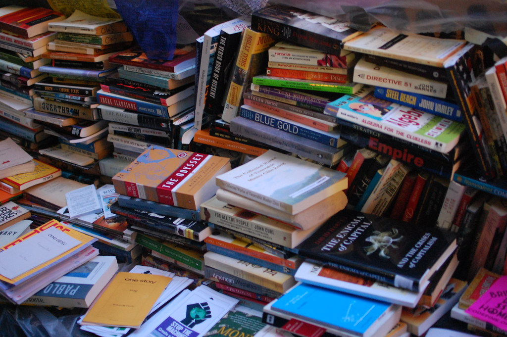 Stack of books at Occupy Wall Street protests in 2011