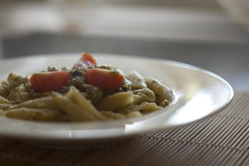 Pasta with corguette sauce and tomatoes | by Luca Nebuloni