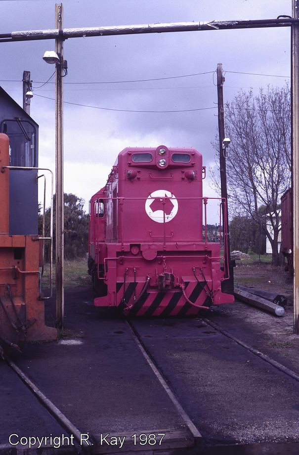 T-334 in 'OZRIDE' colours at Traralgon Loco Depot by Robert Kay