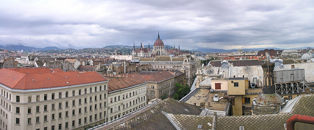 Budapest roofs with the parliament - panorama