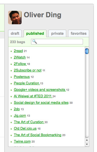 Quick-access box at sidebar - Personal Homeapge - BagTheWeb - 102011 - 2