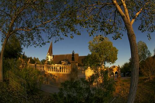 trees sunset church texas stonework chapel fisheye roundtop festivalhill roundtoptexas edythebateschapel festivalhillroundtop bateschapel festivalhillroundtoptexas
