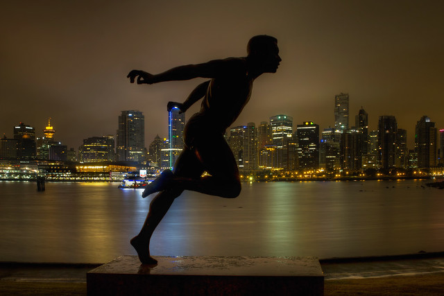 Harry Winston Jerome Statue in Stanley Park Vancouver BC at Night 2 - HDR