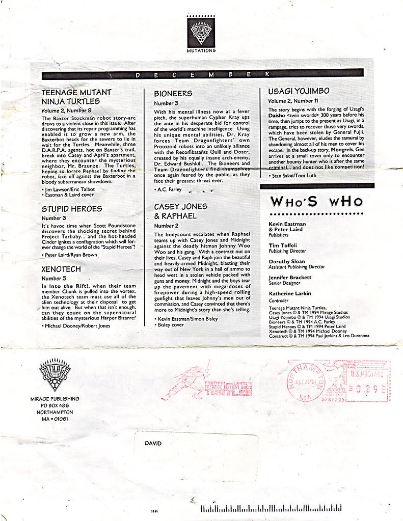 MIRAGE PUBLISHING :: 'MUTATIONS' newsletter V.2 #2 / FALL 1994  v (( 1994 )) // by tOkKa