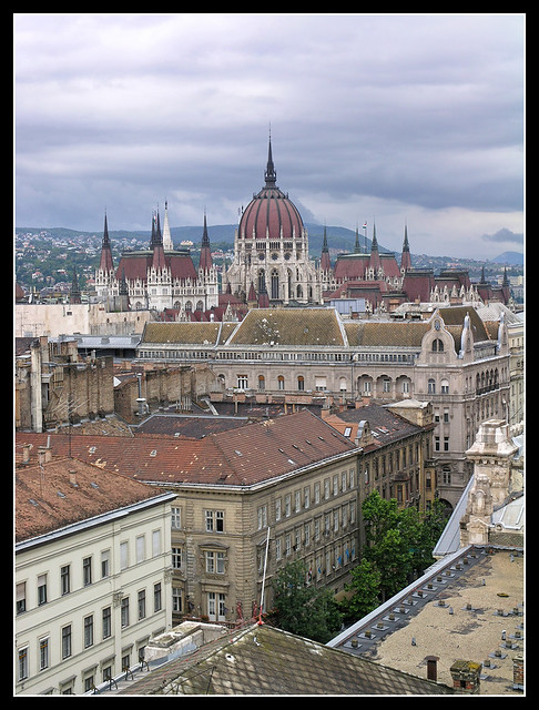 Budapest roofs with the parliament 02