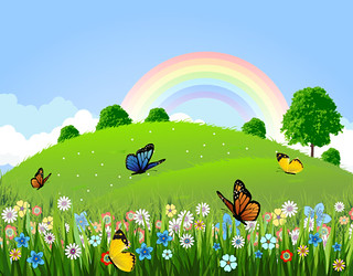 Green landscape with butterfly and rainbow | by Vecto2000.com