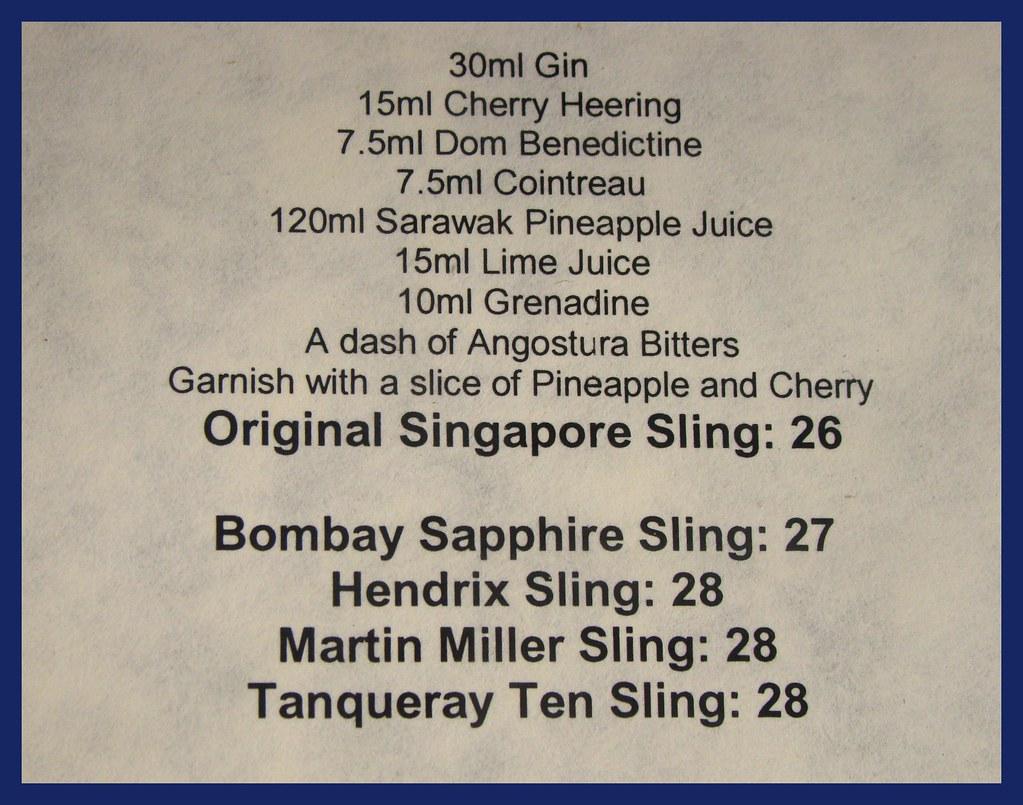 Singapore Sling Raffles Hotel Long Bar Menu Official Re Flickr