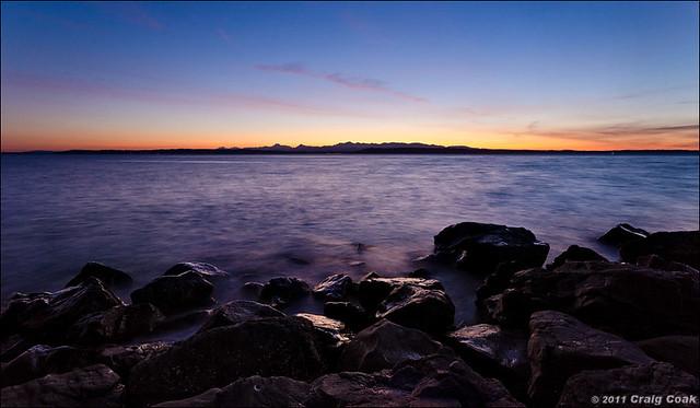 Beach Rocks + Puget Sound + Olympics @ sunset