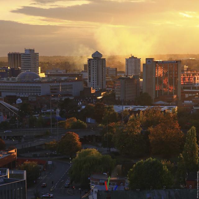 Sunset smoke across the city