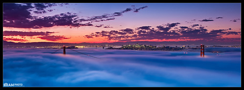sf sanfrancisco california city longexposure bridge sky panorama color nature fog clouds sunrise landscape golden cityscape suspension pano towers panoramic september goldengatebridge bayarea sanfran sanfranciscobay sfbayarea suspensionbridge siliconvalleyphotography aaronmeyersphotography