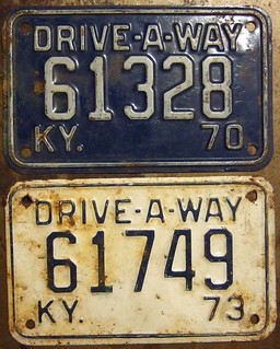 KUNTUCKY 1970 and 1972 ---DRIVE-A-WAY PLATES