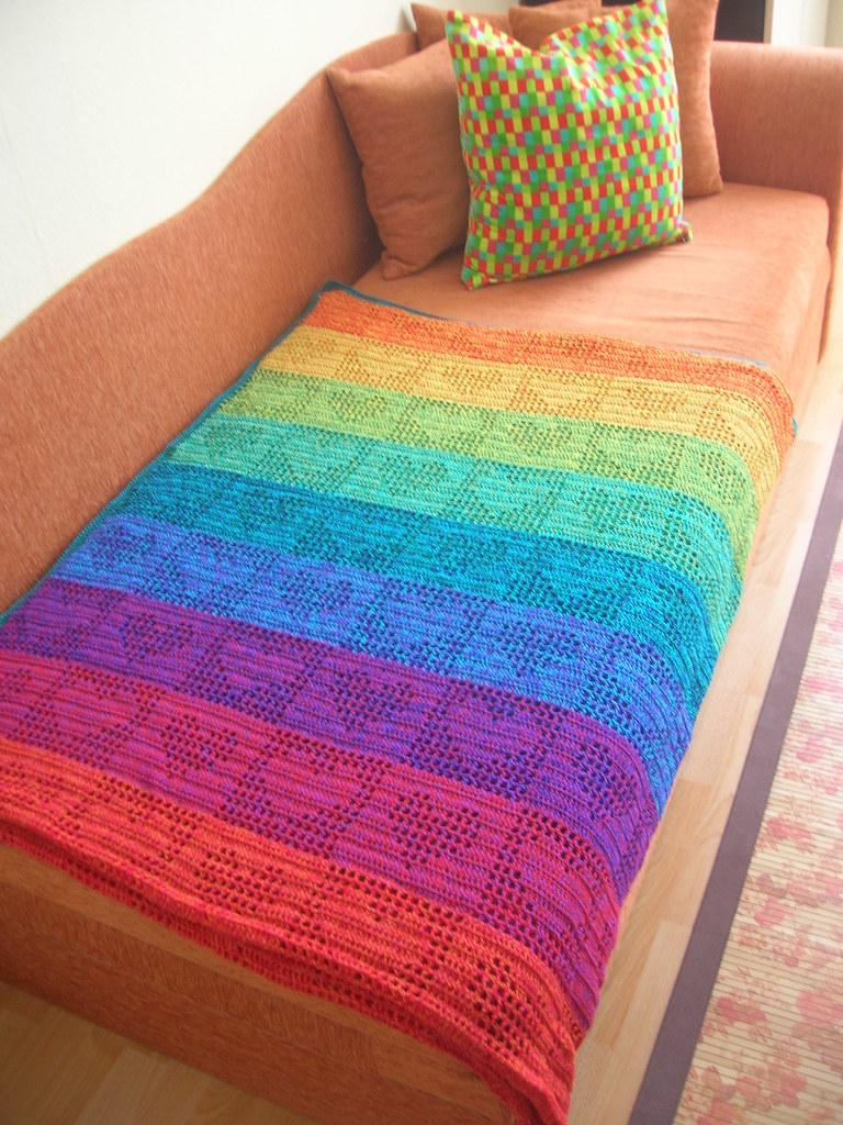 Rainbow Hearts Filet Crochet Afghan / Curtain   Now on faceb