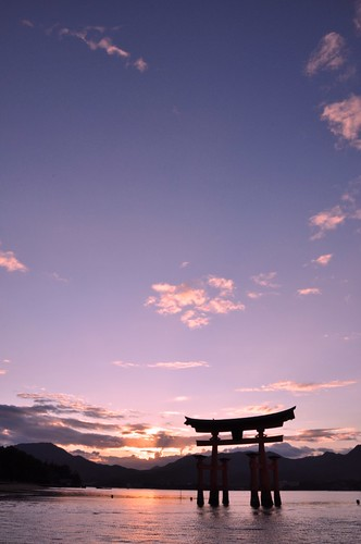 sunset summer temple nikon miyajima itukushima d90