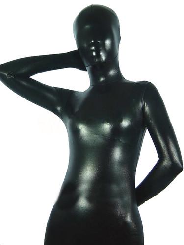 Black Shiny Metallic Zentai Suit | by JustZentai