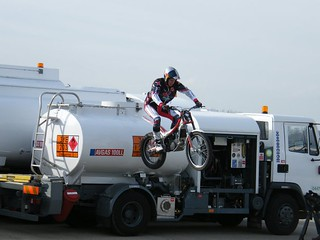 Dougie Lampkin leaps his trials bike off bowser