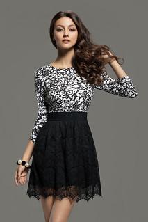 Jacquard Print High Waist 3/4 Sleeve Lace Dress (Black and White) | by AgathaGarcia