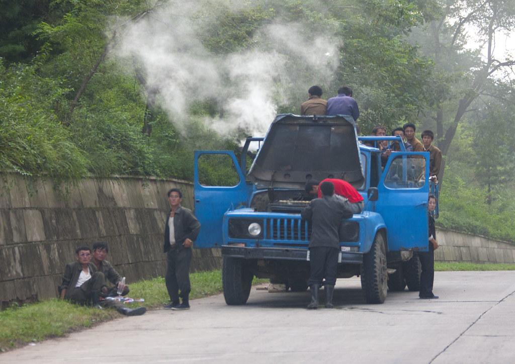 Vapor truck on the road - North Korea