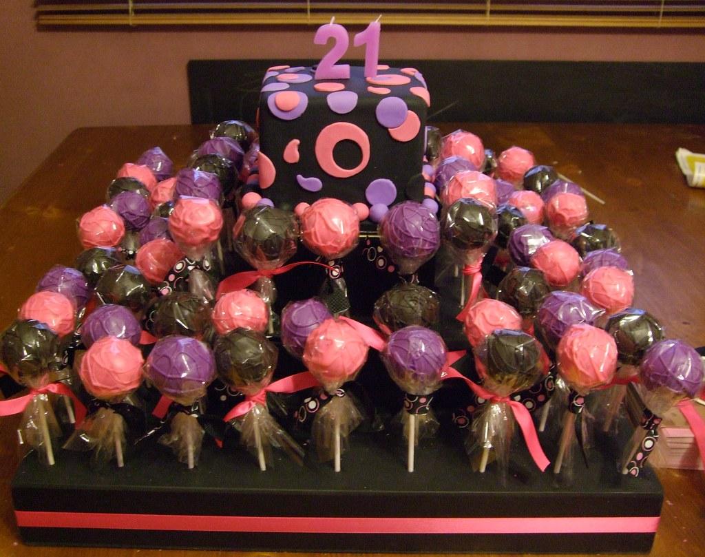 Super 21St Birthday Cake With Cake Pops Cake Pops Black Coated Flickr Personalised Birthday Cards Sponlily Jamesorg