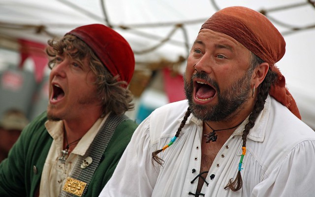 The Rogues really getting into their singing