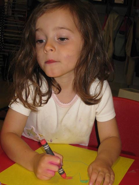 Zoe coloring at school