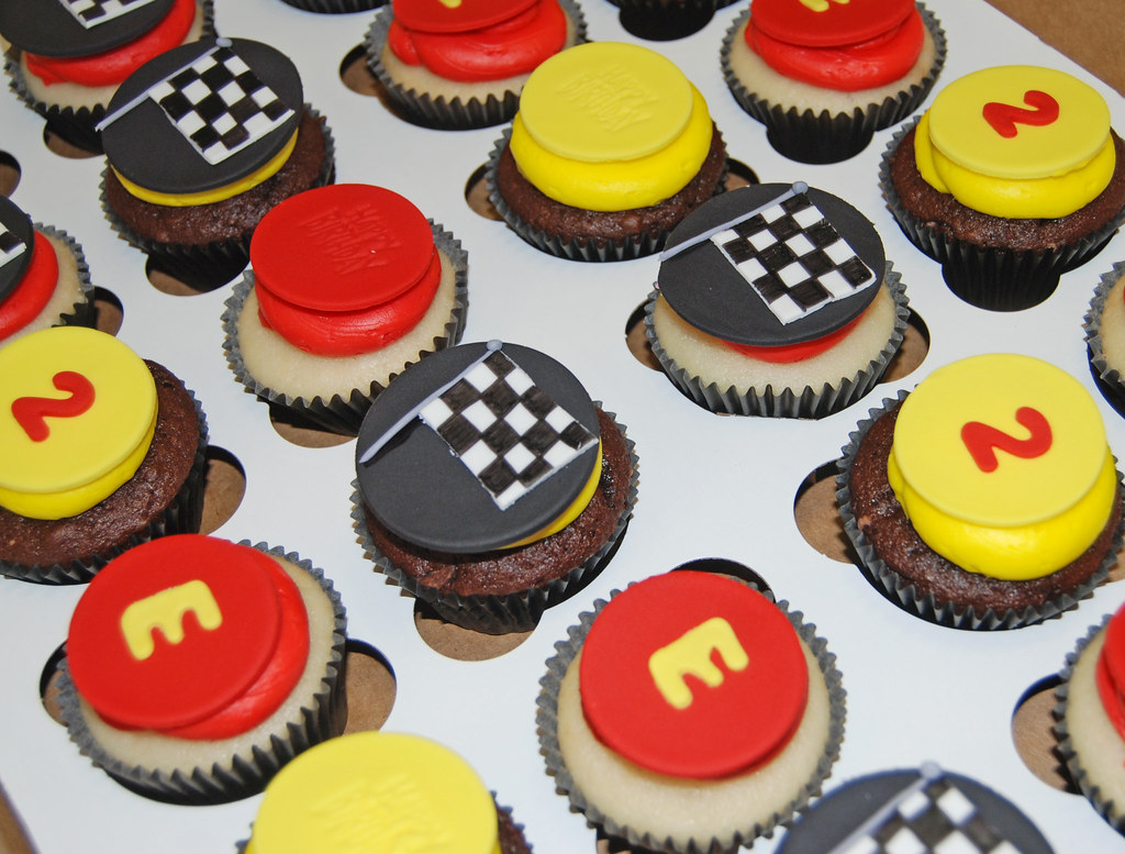 2nd Birthday Race Car Themed Cupcake Tower Cupcakes Flickr